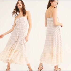 Free People NWT Sleeveless Plaid Ruffle Maxi Dress